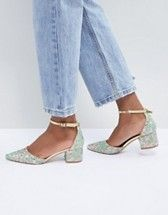 c33b7389528e RAID Lucky Rose Gold Ankle Tie Block Heeled Shoes