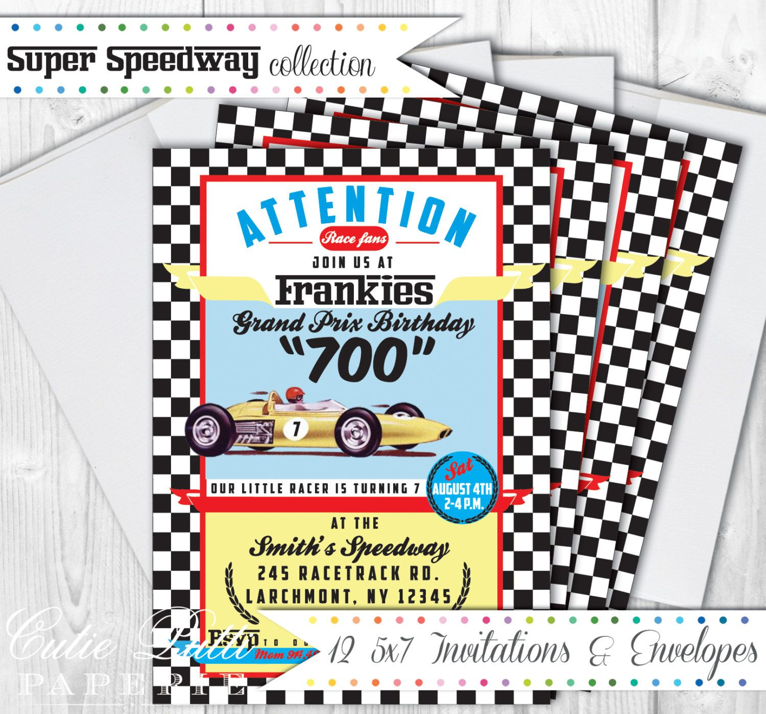 12 Race Car Party Invitations, Envelopes, and Return Labels ...