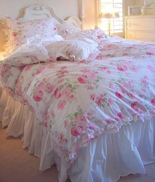 Queen Rachel Ashwell Shabby Chic White Ruffled Bedskirt Dust Ruffle Shabby Chic Bedding Shabby Chic Room Chic Bedding