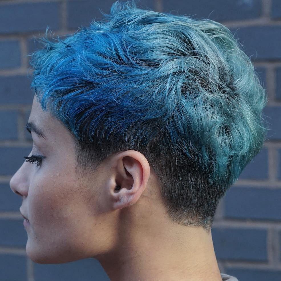ShortCurlyPastelBluePixie  Short  Pinterest  Hair Hair cuts