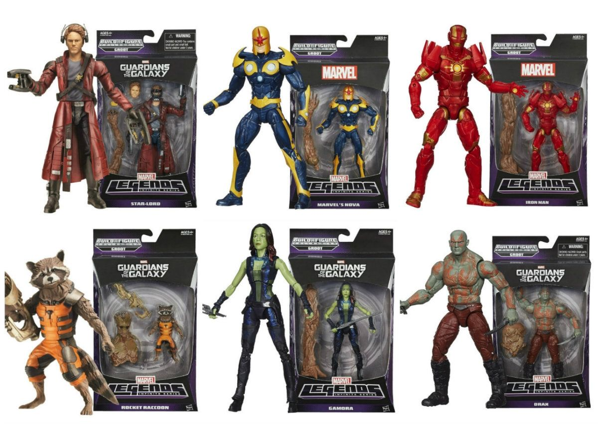 COMPLETE SET all 6 GUARDIANS OF THE GALAXY Marvel Legends drax rocket groot baf
