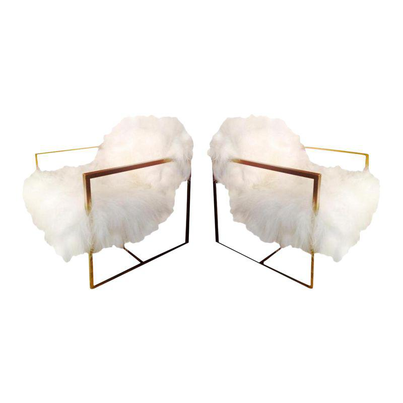 Magic Float Accent Chair: Mid-Century Floating Sheepskin Chairs - A Pair