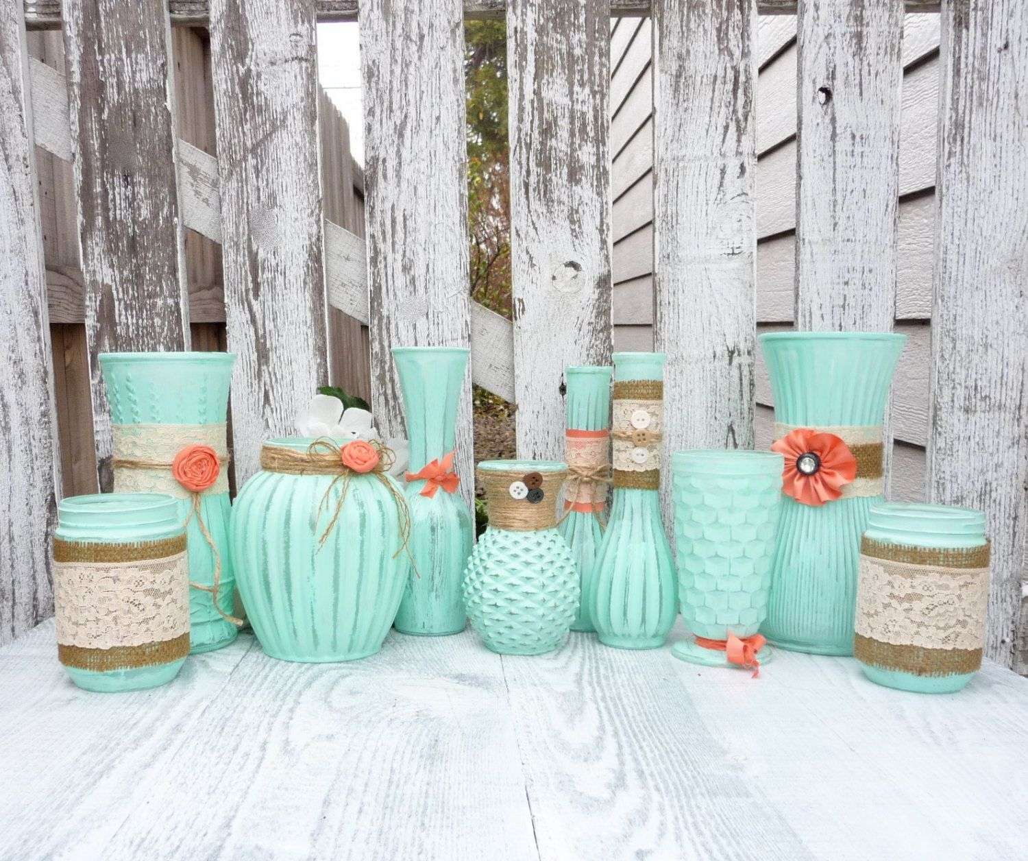 mint green and coral party decoration