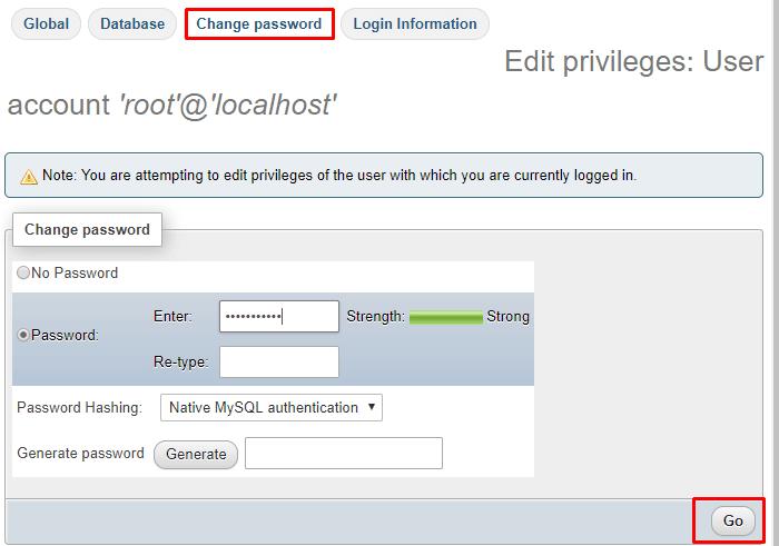 How To Change Phpmyadmin Password On Xampp Generate Password Strong Password Passwords