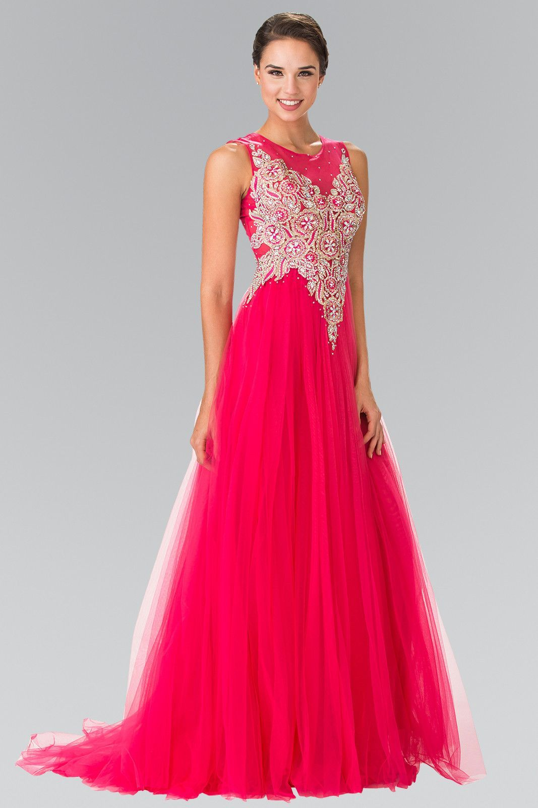 Sleeveless Bead Embroidered Illusion Dress by Elizabeth K GL2317