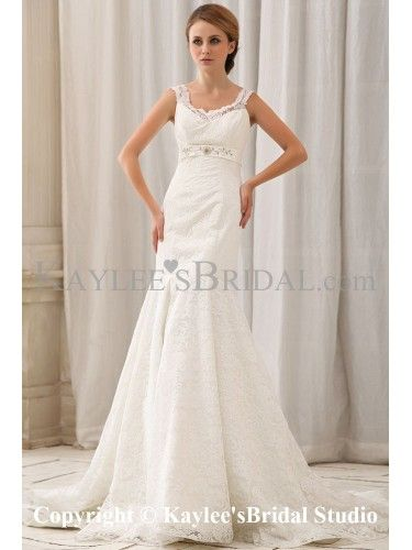 Satin and Lace V-Neck Chapel Train Mermaid Wedding Dress with Embroidered