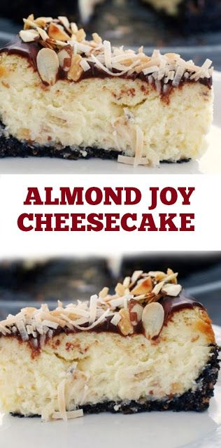 Almond Joy Cheesecake Recipe #Almond #Joy #cheesecake #desserts #cake #almonddayrecipes #almondday #almondjoy - Low Carb Bars #cheesecakes