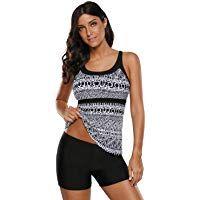 SHESHY Women Two Piece Swimsuit Swimwear Tankini Stripes Print Blouson Tankini T…