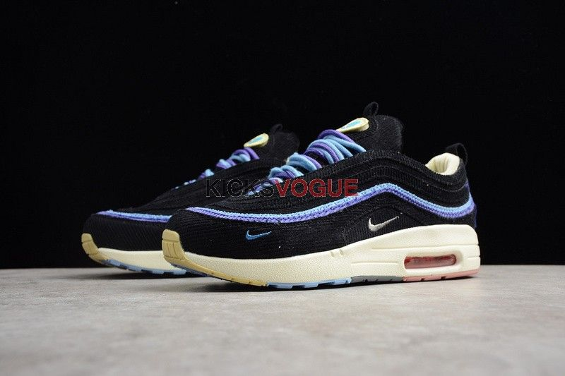 sports shoes 454c0 5344e Custom Sean Wotherspoon x Nike air Max 1 97 Midnight Wave Black Blue
