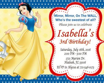 Snow White Invitation Snow White Birthday Snow White Invite