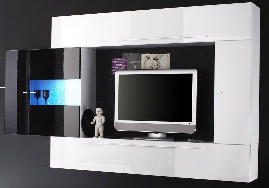 étourdissant Meuble Tv Laqué Noir Et Blanc Décoration Française - Meuble tv blanc laque pas cher pour idees de deco de cuisine
