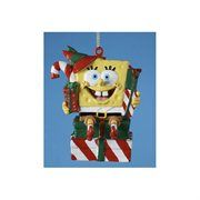 SpongeBob Elf on a Stack of Presents Blow Mold Christmas Ornament