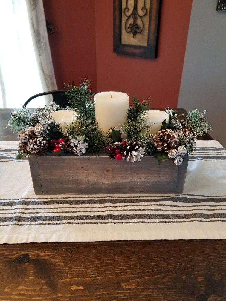 Small wood box- Christmas centerpiece for coffee table ...