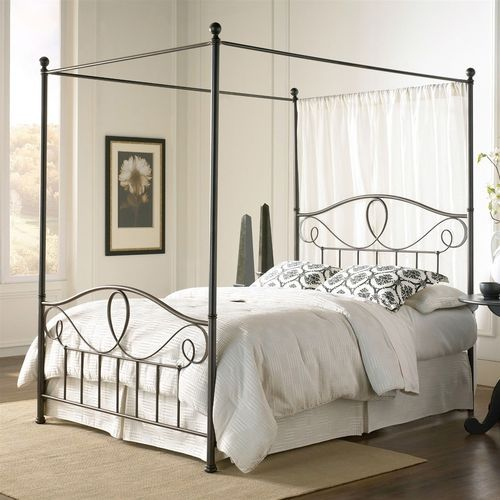 Full Complete Metal Canopy Bed With Scroll Work And Ball Finials