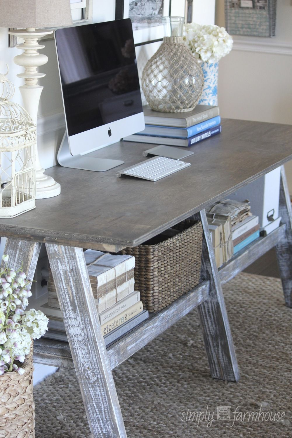 Love the old farm table mixed w/ high tech devices. The perfect blend of  new and old. Rustic Home Office or workspace