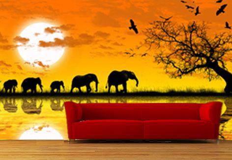 Mural pintado en pared de paisaje africano decoraci n en for Pintar murales en paredes exteriores