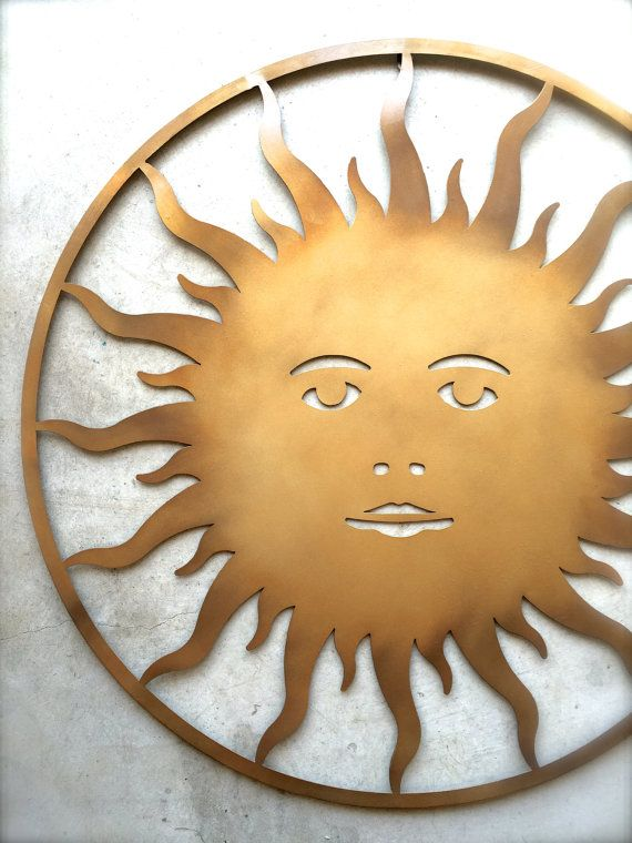Metal Sun, Metal Sun Wall Art, Outdoor Sun, Large Metal Sun, Gold ...