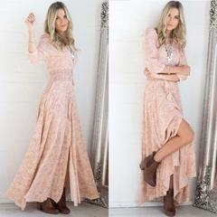 Long Pink Boho Dress
