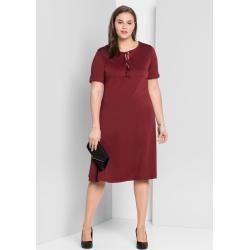 Große Größen: Jerseykleid in A-Linie mit Bindeband, bordeaux, Gr.46 Sheego