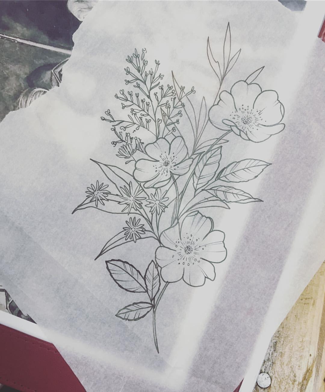 Wildflowers Sketch–pre tattoo.