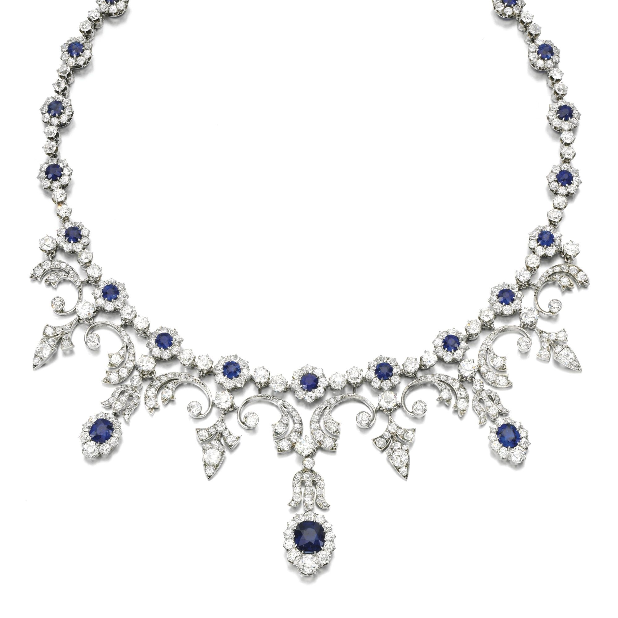 Sapphire and diamond necklace. Designed as a series of