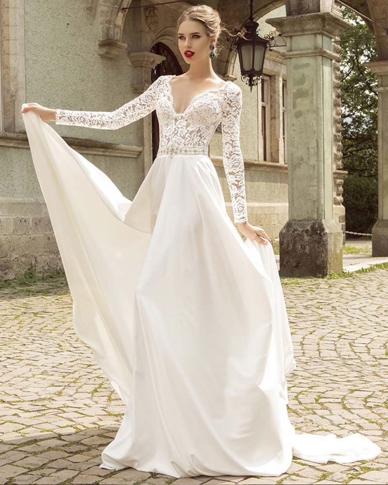 Vintage Style Long Sleeve Lace A Line Gown Long Sleeve Wedding Dress Lace Wedding Dresses Beaded Wedding Dresses