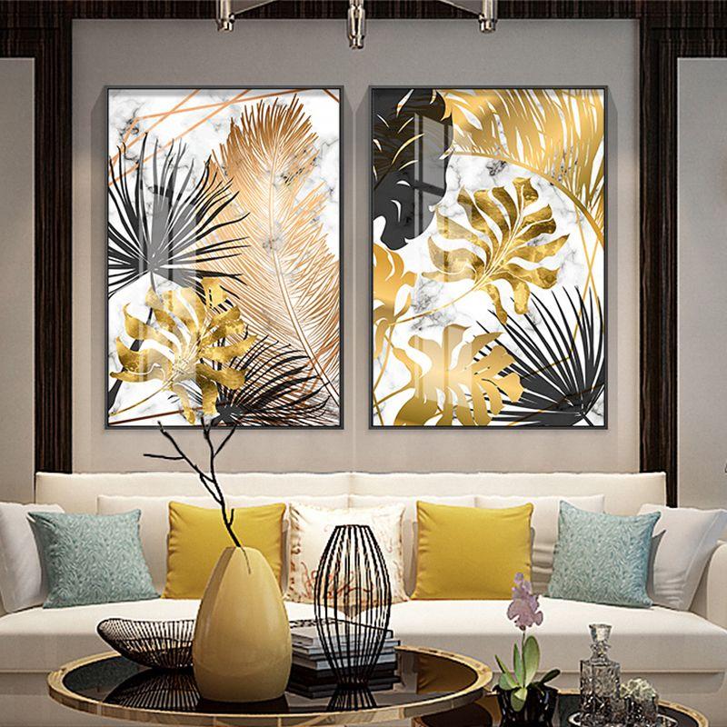 Tanie Nordic Rośliny Złoty Liść Płótno Malowanie Plakaty I