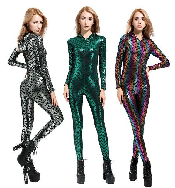 23959fec202 New Fish Dragon Scales Women Faux Leather Jumpsuit Holographic Metallic  Catsuit bodysuit Sexy Jumpsuit Mermaid Suits 2018  rompers  jumpsuit   playsuit ...