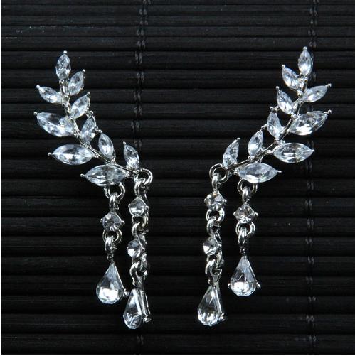 Photo of Angel Wing Earrings   cubic zirconia rhinestone earrings – Silver