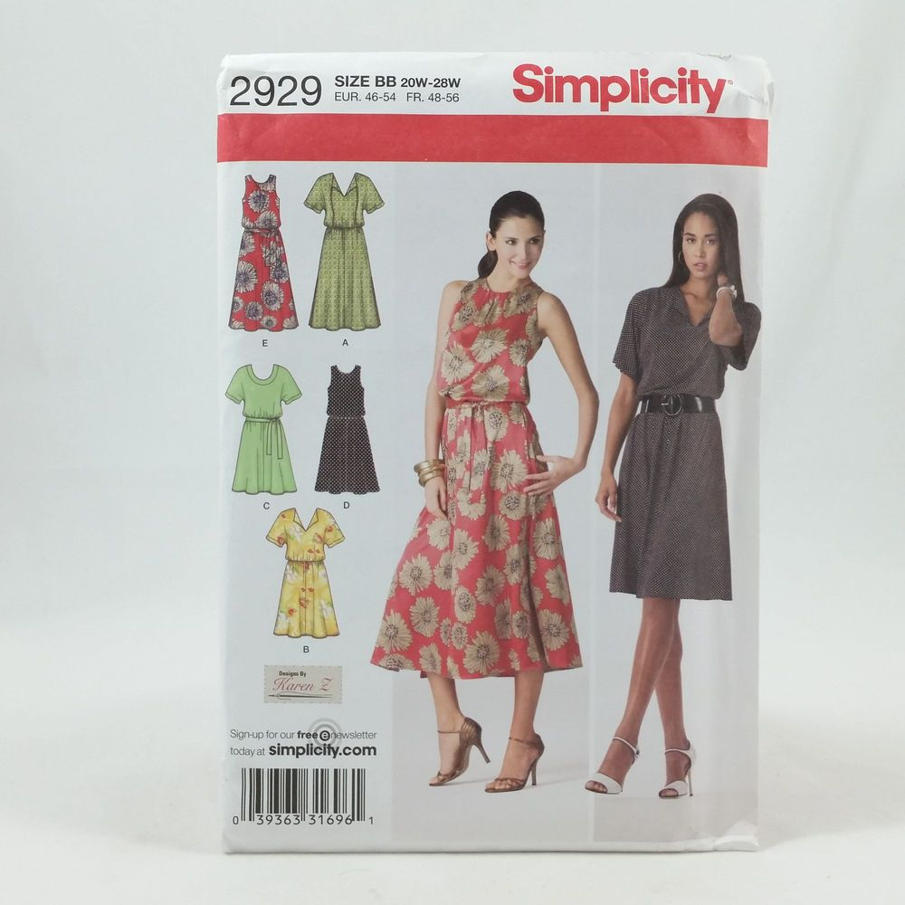 Plus size womens pull over dress sewing pattern 20w 28w simplicity plus size womens pull over dress sewing pattern 20w 28w simplicity 2929 uncut ad jeuxipadfo Choice Image
