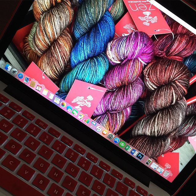 There is yarn everywhere! Even on my laptop screen. These colours make me happy to look at daily! #zenyarngarden #macbookpro #lifeofadyer #handdyedyarn #handdyed #yarn