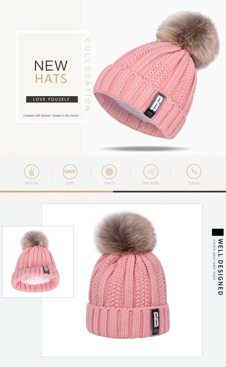 9bcde7881 $12.91 - Awesome WISH CLUB Fashion Winter Hat Thickened Cotton ...