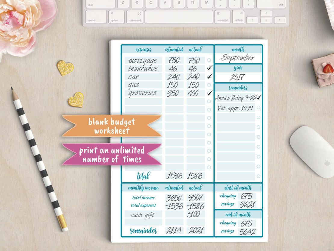 Budget Planner Account Tracking Bill Tracker Payment