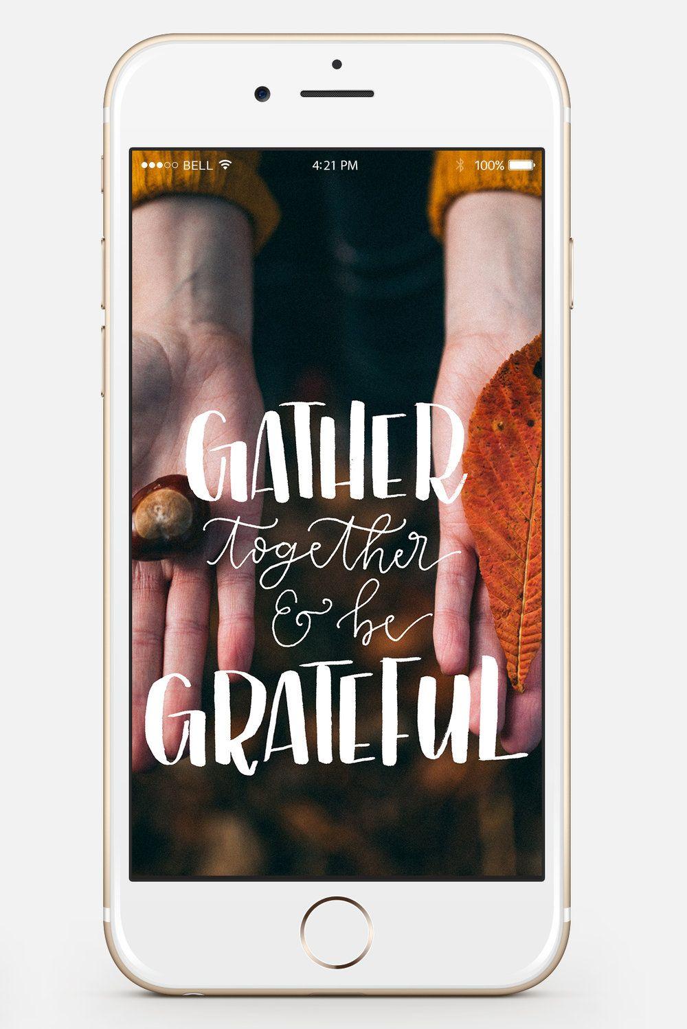 Gather & Grateful Phone lock screen from Lume & Penna