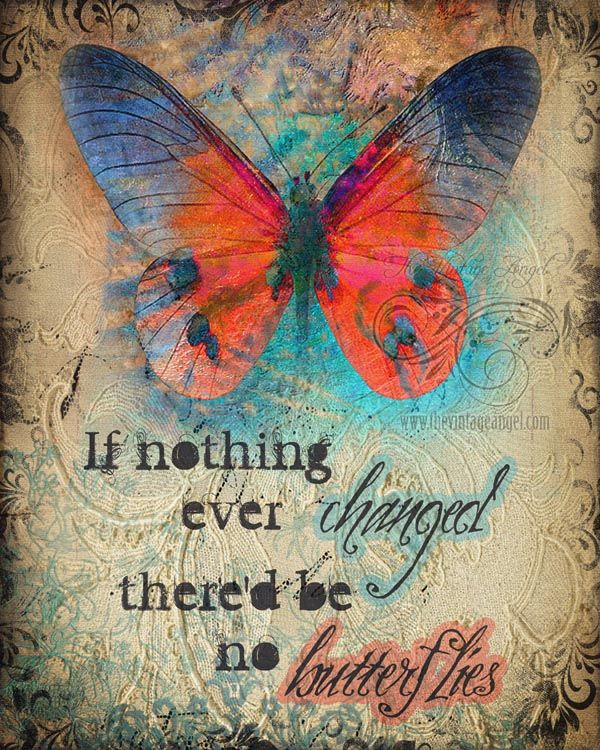 Hope, change, inspirational butterfly art print by The Vintage Angel