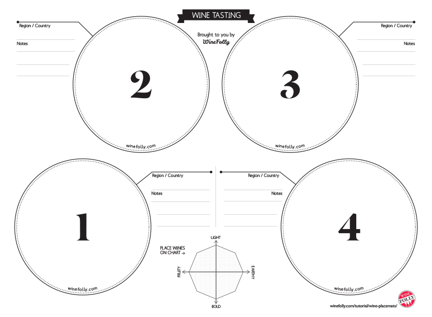 Wine Placemats For Tasting Free Download