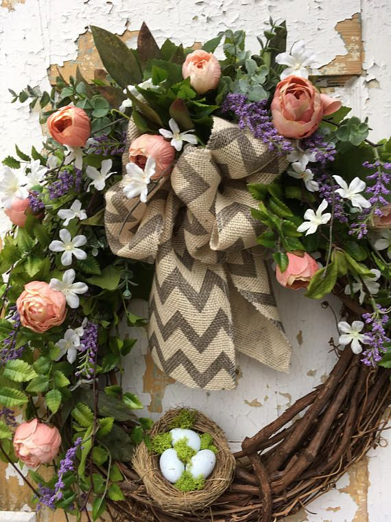Spring wreath for front door easter wreath spring wreath with spring wreath for front door easter wreath spring wreath with nest housewarming gift negle Images