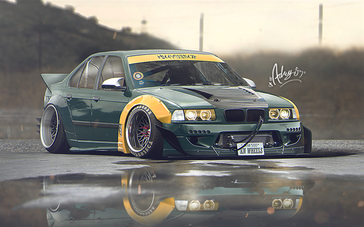 Download Wallpapers 4k E36 Bmw 3 Series Artwork Stance Tuning German Cars Green E36 Bmw Besthqwallpapers Com Bmw 3 Series Bmw Bmw Design
