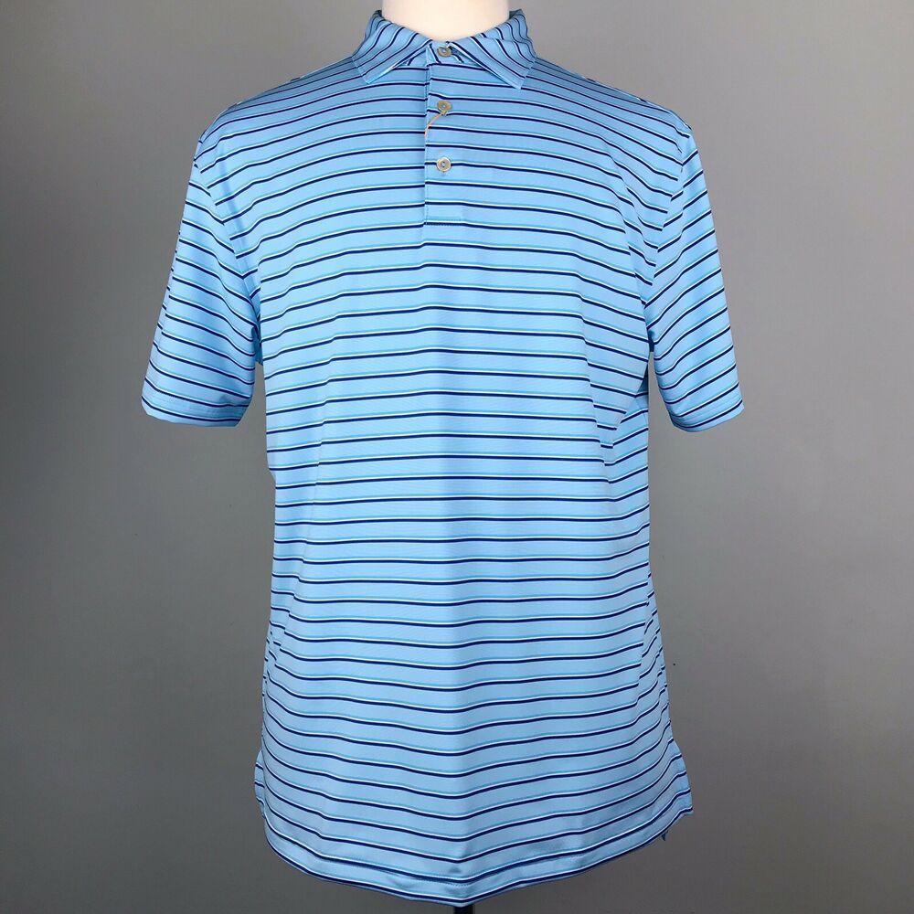 Peter Millar Blue Golf Polo Size M Stripe Summer Comfort