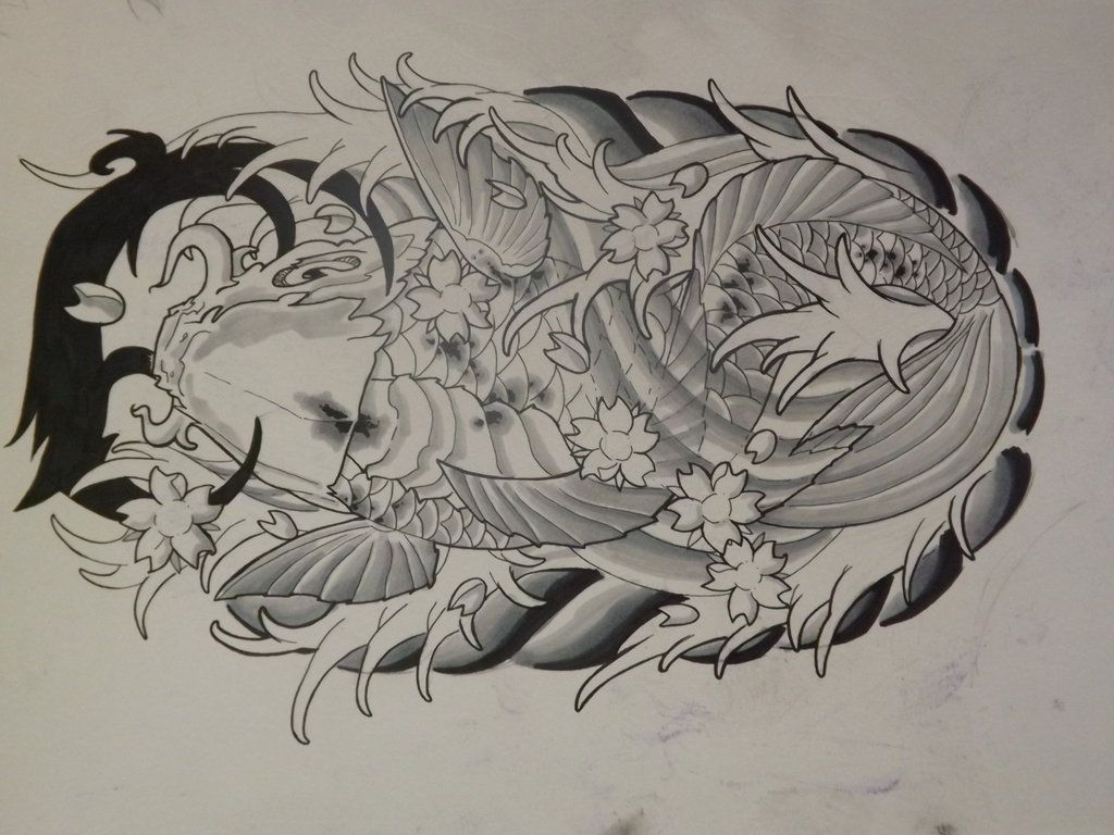 Dragon koi fish tattoos designs cool tattoos designs for Dragon fish tattoo