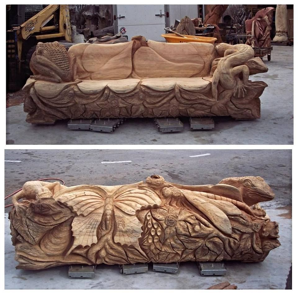 Chainsaw carved frog and butterfly bench treesculpting