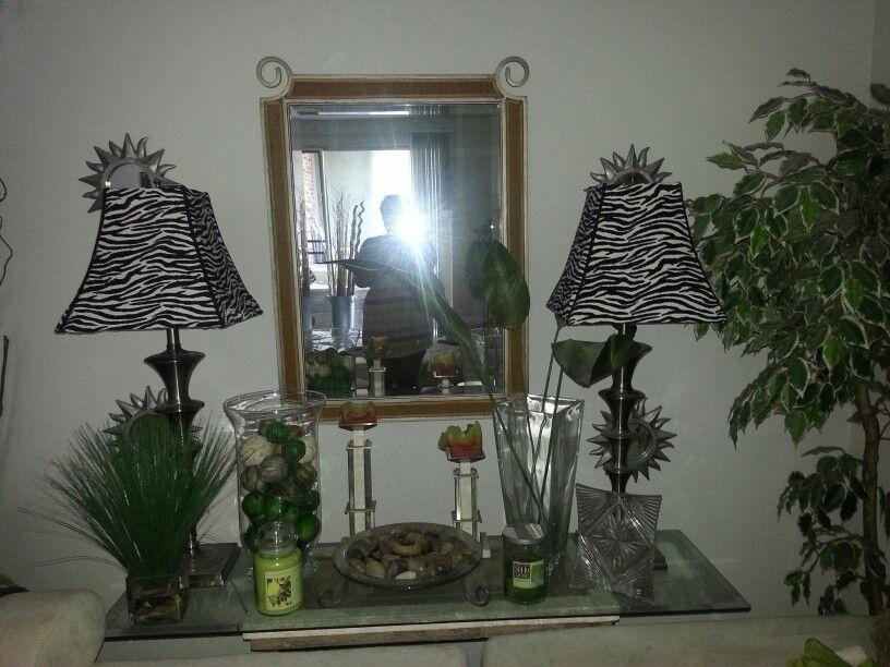 zebra lampshade on sofa table  living room designs room