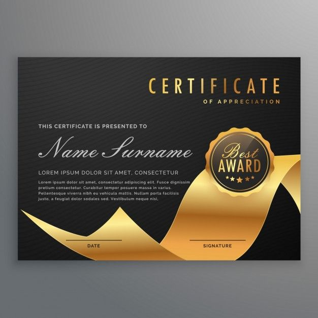 Black and gold certificate Free Vector Certificate Pinterest - certificate designs free
