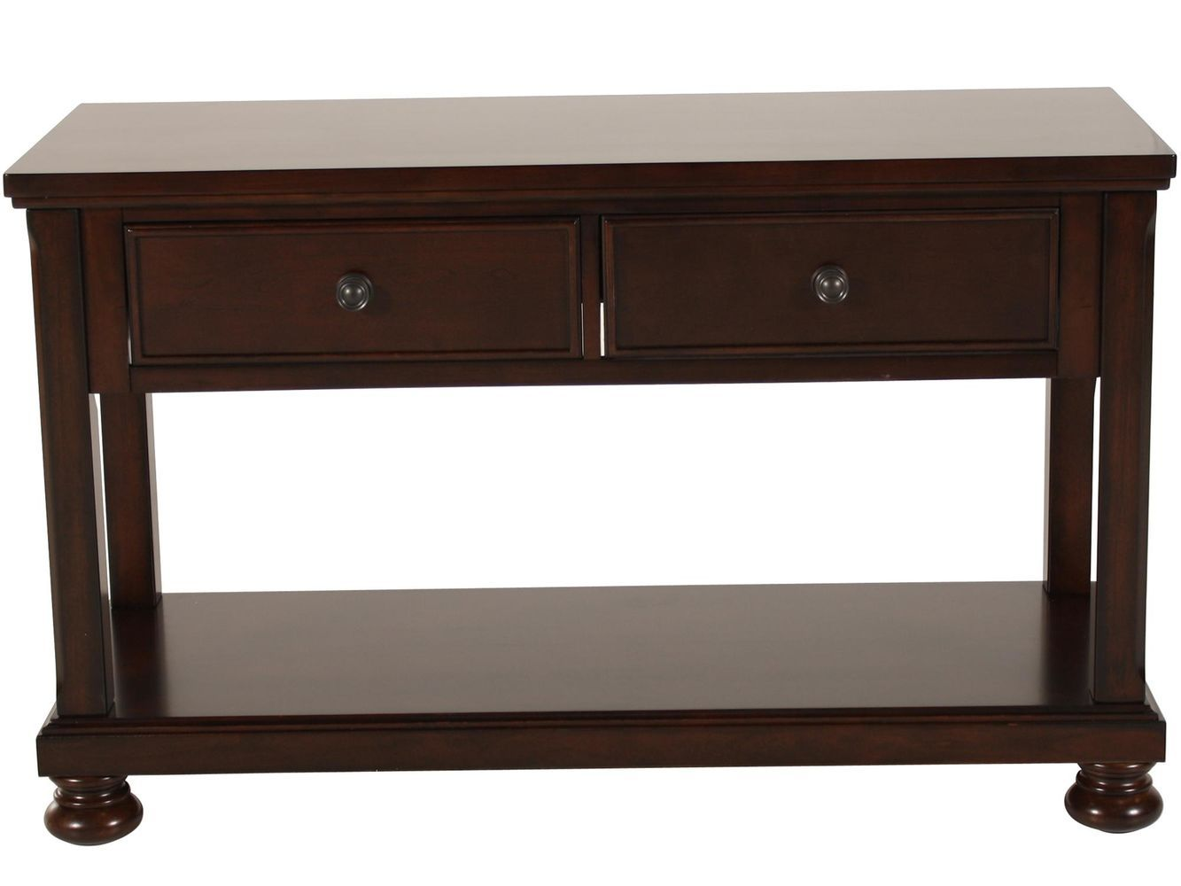 two drawer traditional sofa table in brown cherry mathis brothers