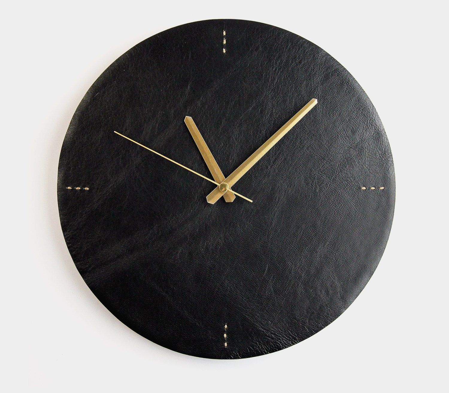 Modern Wall Clock Black Leather Clock Unique Minimalist Etsy Wall Clock Modern Minimalist Wall Clocks Wall Clock