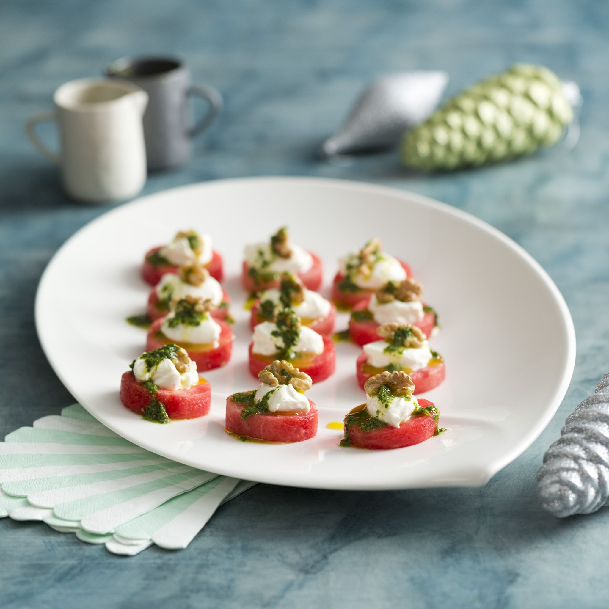 Watermelon canapes with whipped feta and walnuts for Canape cookbook