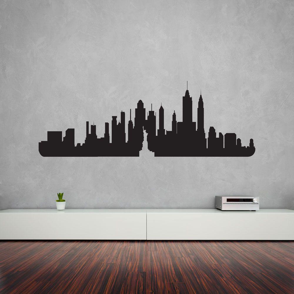 New York City Skyline Vinyl Wall Art Decal Home Decals Stickers Diy Wallart Wallstickers Newyork Usa