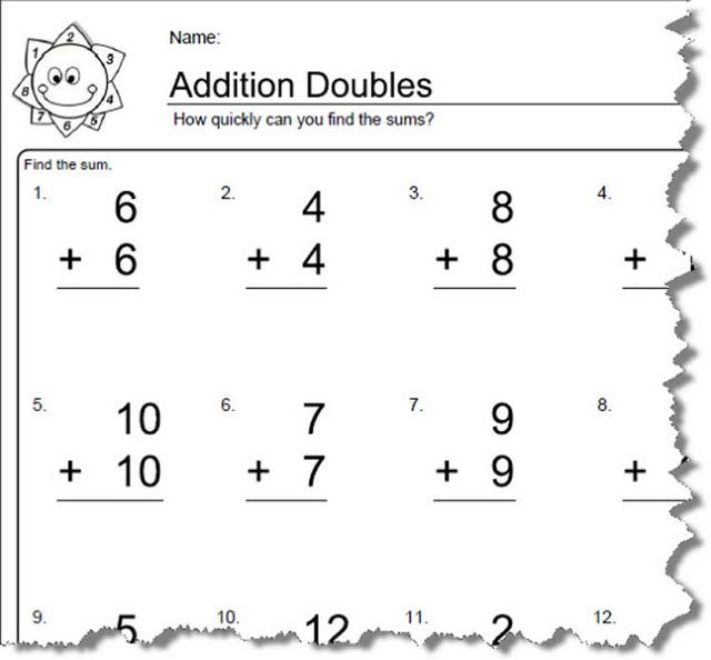 Worksheets For Elementary Math Doubles Addition Doubles Addition Doubles Worksheet Math Doubles