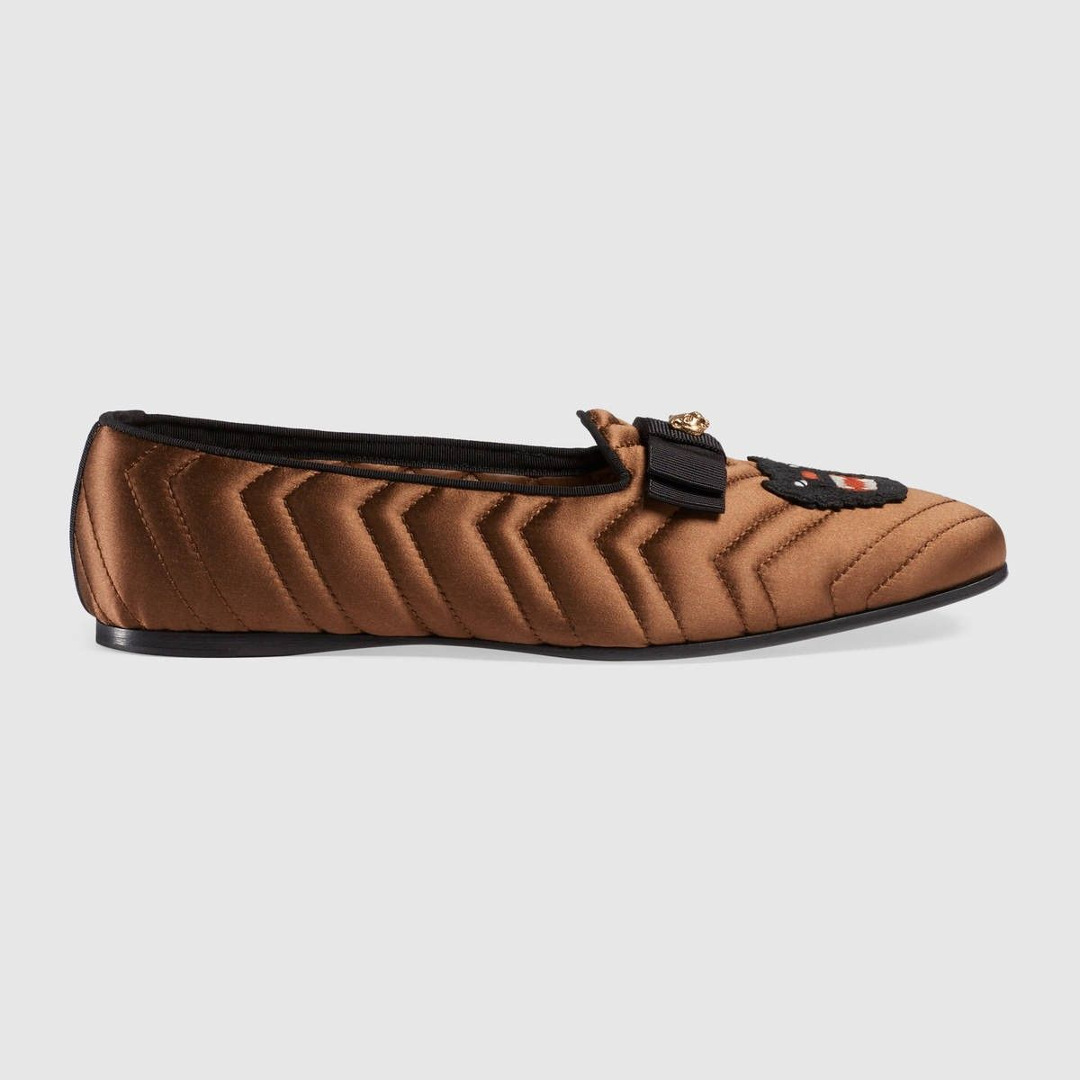 6a38c5e7dd7 GUCCI Silk Loafer With Panther - Brown Silk.  gucci  shoes  all ...