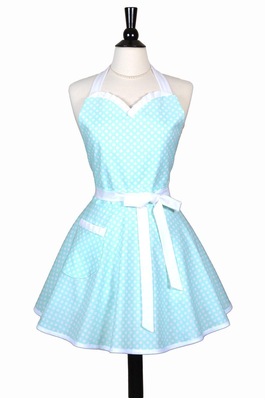 cute kitchen aprons island with drop leaf womens aqua blue polka dot retro sweetheart sexy apron creative chics